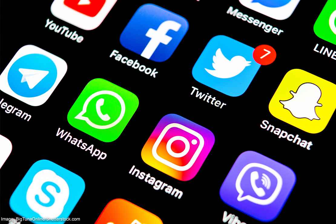 Social media apps on a smart phone.