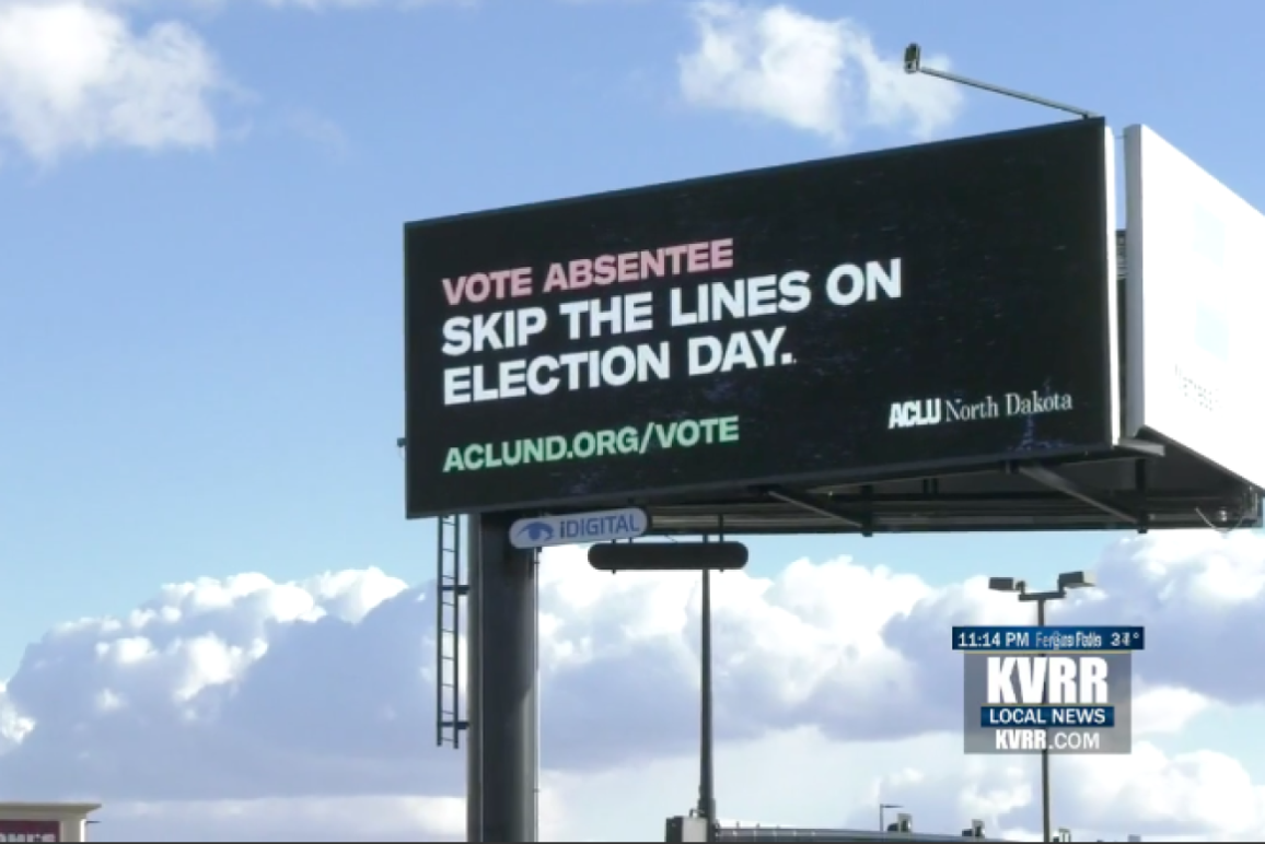 Image of an ACLU of North Dakota Billboard