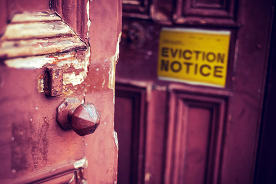 officer and eviction notice