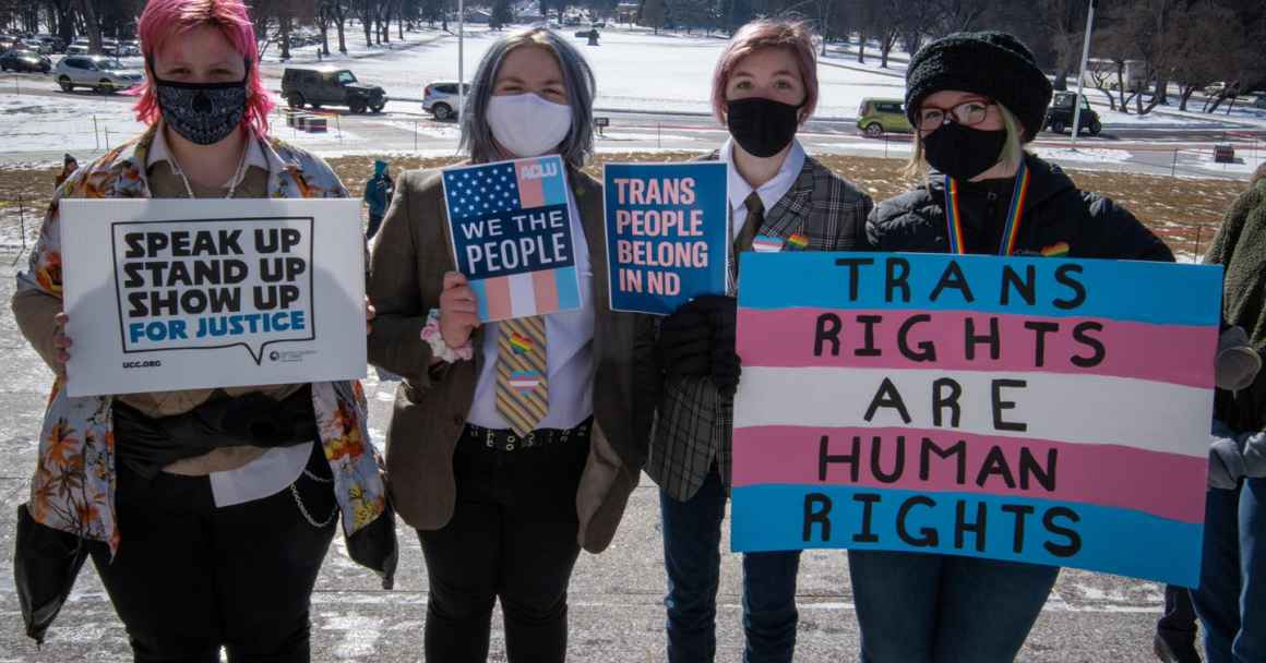 trans people belong in nd protest